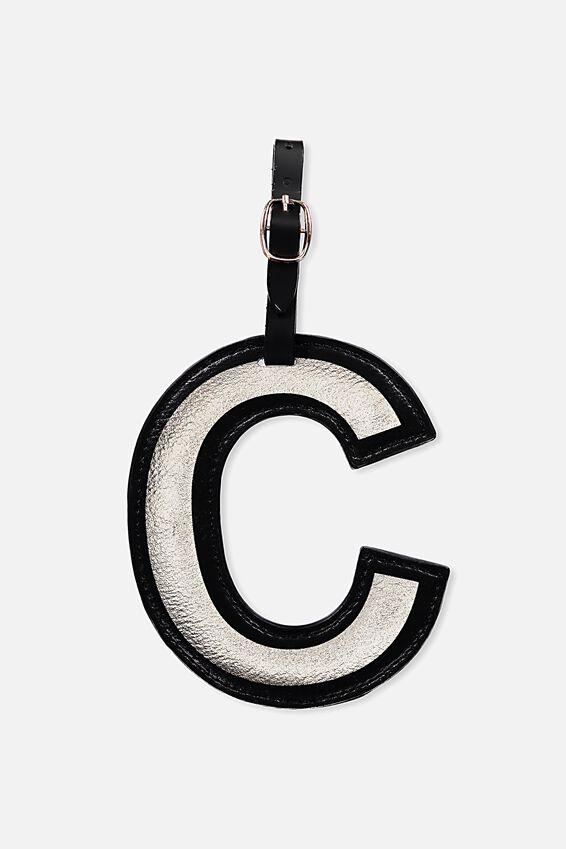Shaped Alphabet Luggage Tag, C