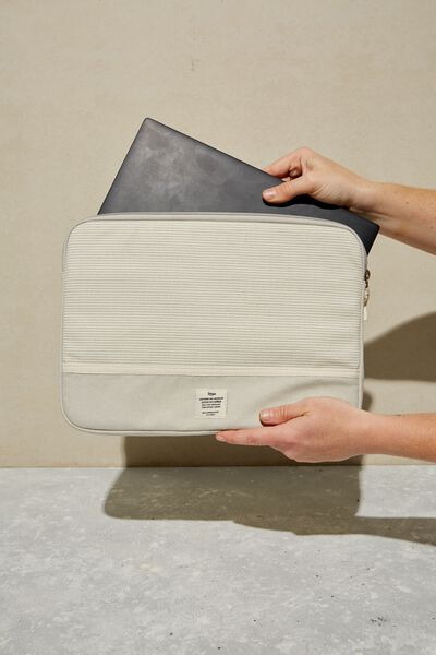 Canvas 13 Inch Laptop Case, LIGHT GREY NEUTRAL STRIPES