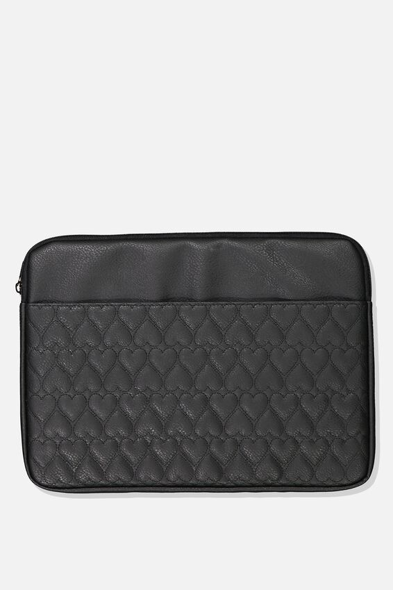 Take Charge 15 Inch Laptop Cover, BLACK QUILTED HEARTS