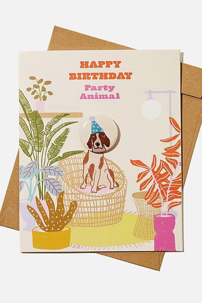 Premium Badge Card, PARTY ANIMAL DOG ILLO!