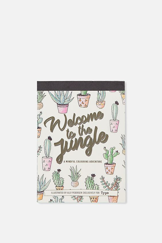 Post Card Colouring Book, WELCOME TO THE JUNGLE