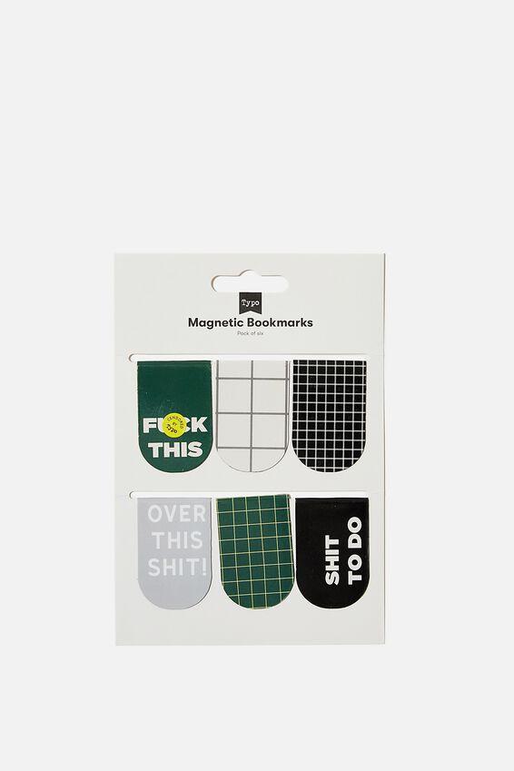 6Pk Magnetic Bookmark, DEEP GREEN!!