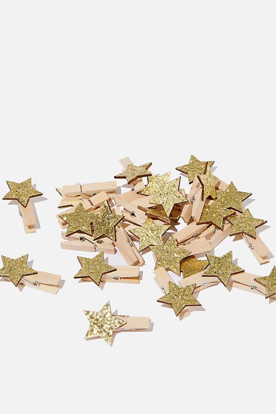 Novelty Pegs, STAR GOLD GLITTER