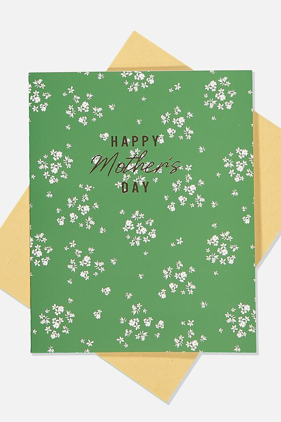 Mothers Day Card, GREEN FLORAL MD