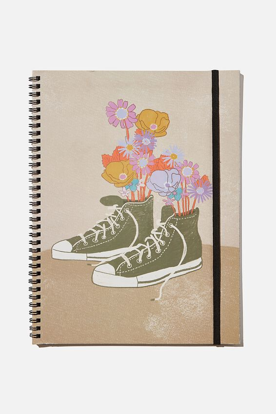 A4 Spinout Notebook Recycled, SNEAKER FLOWERS