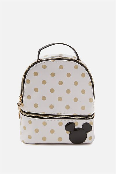 Mini Fashion Backpack, LCN WHITE & GOLD POLKA