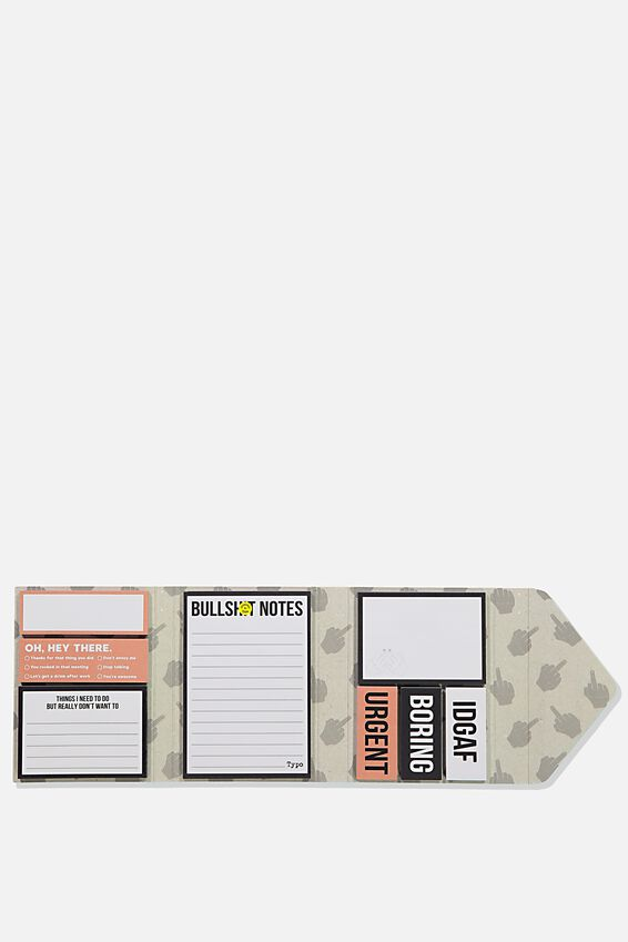 Pocket Sticky Note Set, GREY RUDE FINGER!!