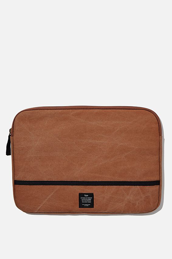 Canvas 13 Inch Laptop Case, MID TAN