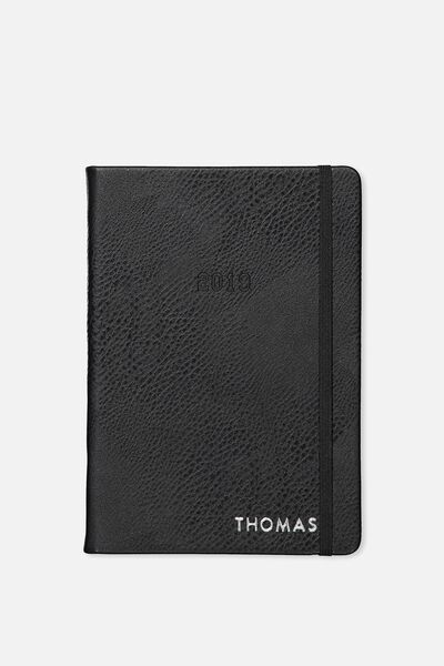 Personalised 2019 A5 Weekly Buffalo Diary, BLACK