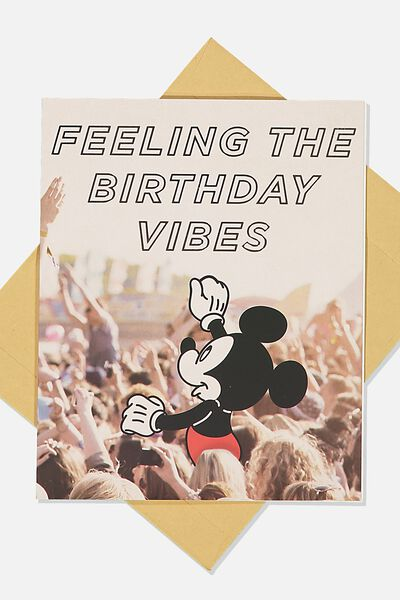 Funny Birthday Card, LCN DIS MICKEY BIRTHDAY VIBES