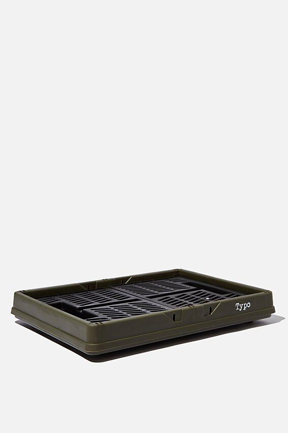 Large Foldable Storage Crate, OILSKIN & BLACK TWO TONE