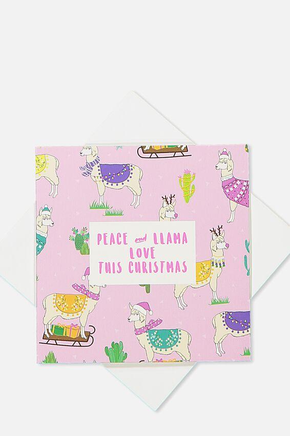2018 Mini Christmas Card, PEACE AND LLAMA LOVE