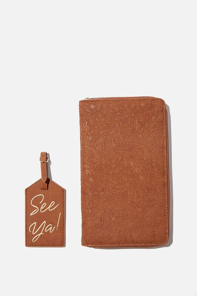 RFID Wanderer Travel Set, MID TAN TOOLED PAISLEY