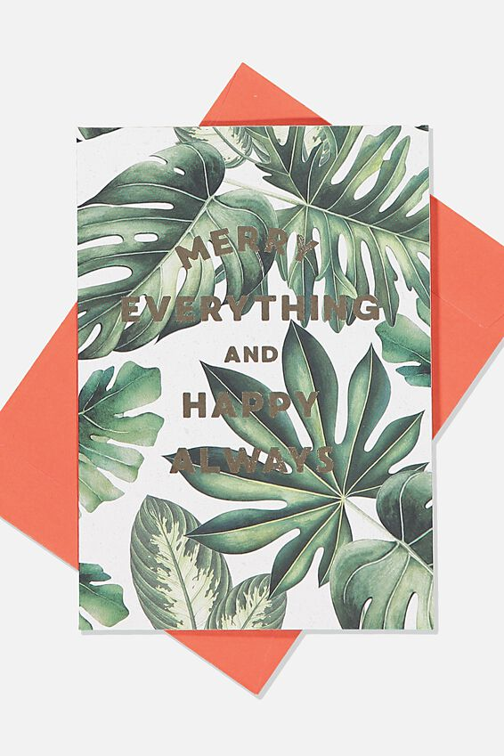 Christmas Card 2019, MONSTERA MERRY EVERYTHING