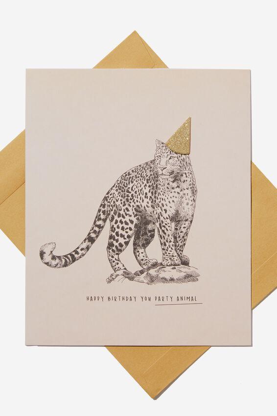 Premium Nice Birthday Card, GLITTER HAT LEOPARD
