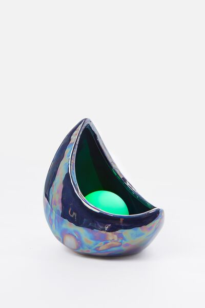 Mini Ceramic Novelty Light, PURPLE OIL SLICK CRESCENT MOON