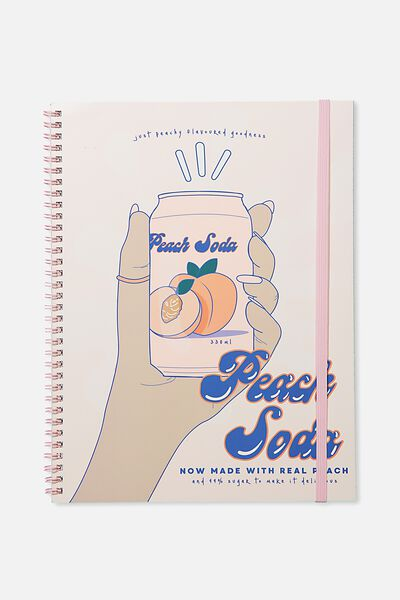 A4 Spinout Notebook - 120 Pages, PEACH SODA