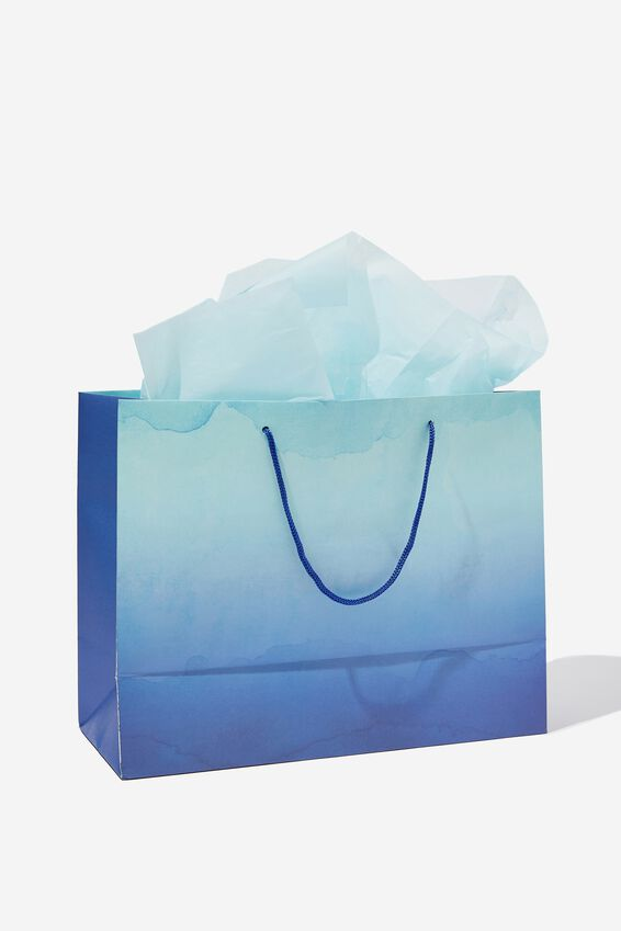 Medium Gift Bag with Tissue Paper, OMBRE BLUE
