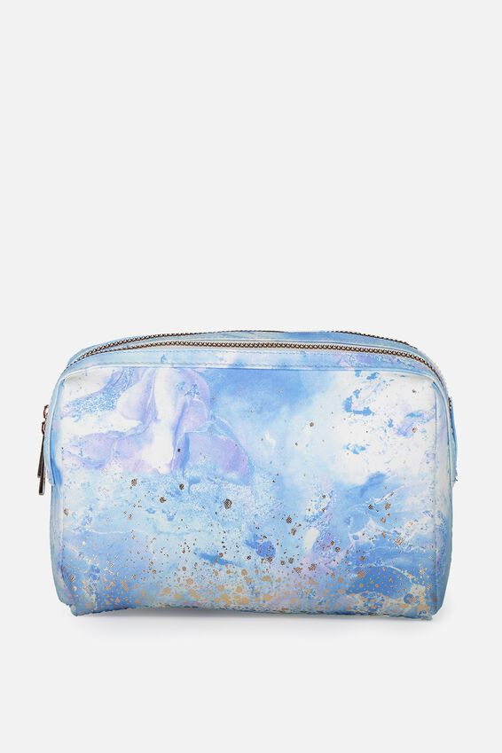 Dual Zipper Cosmetic Case, BLUE MARBLE