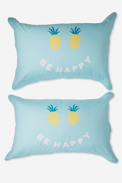 Standard Pillow Case Set, BE HAPPY