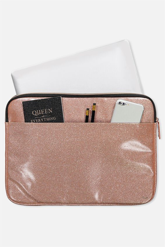 Core Laptop Cover 15 Inch, ROSE GOLD GLITTER