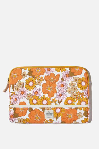 "Take Me Away 11"" Laptop Case, STEVIE FLORAL ORANGE AND PINK"