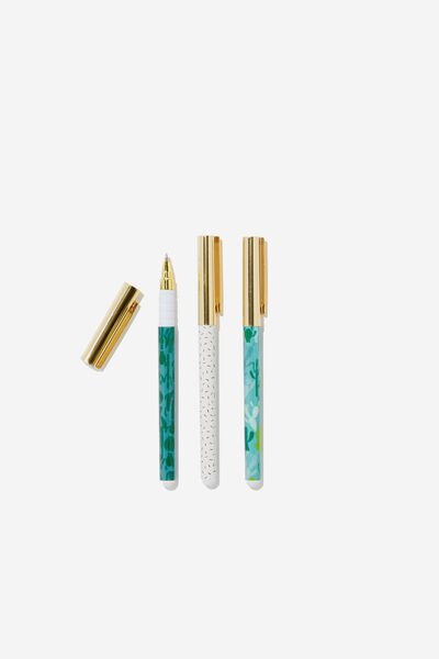 Flash Fash 3 Pk Pens, GO GREEN