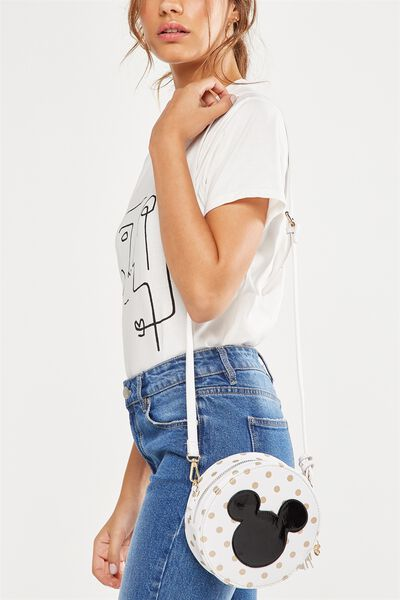 Round Cross Body Bag, LCN WHITE & GOLD MICKEY
