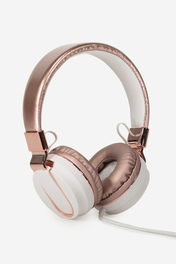 Frequency Headphones, ROSE GOLD & WHITE