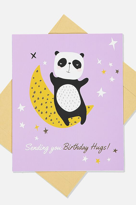 Nice Birthday Card, CUTE PANDA MOON HUGS