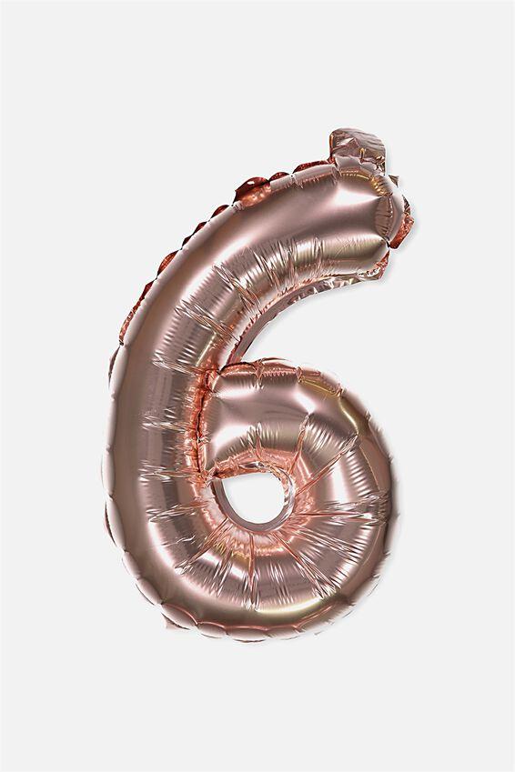 Foil Number Balloons, ROSE GOLD 6