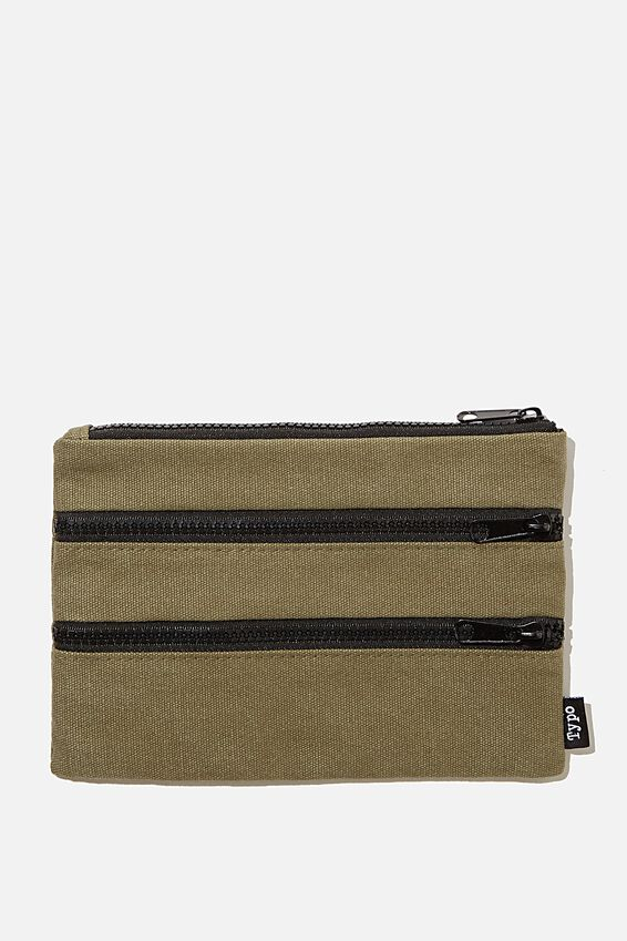 Double Archer Pencil Case, KHAKI CANVAS