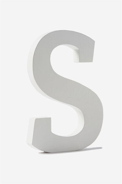 Letterpress Wooden Letter, WHITE S