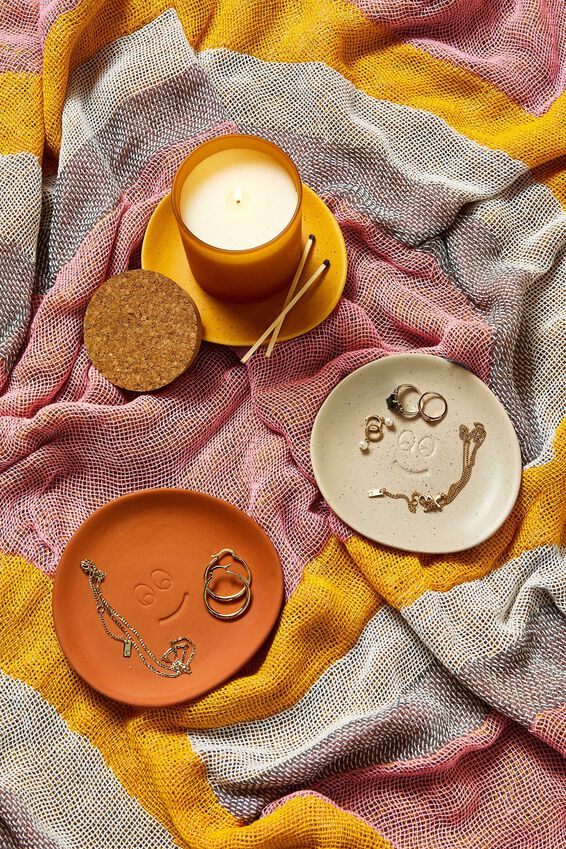 Mood Ceramic Tray, TERRACOTTA HAPPY FACE