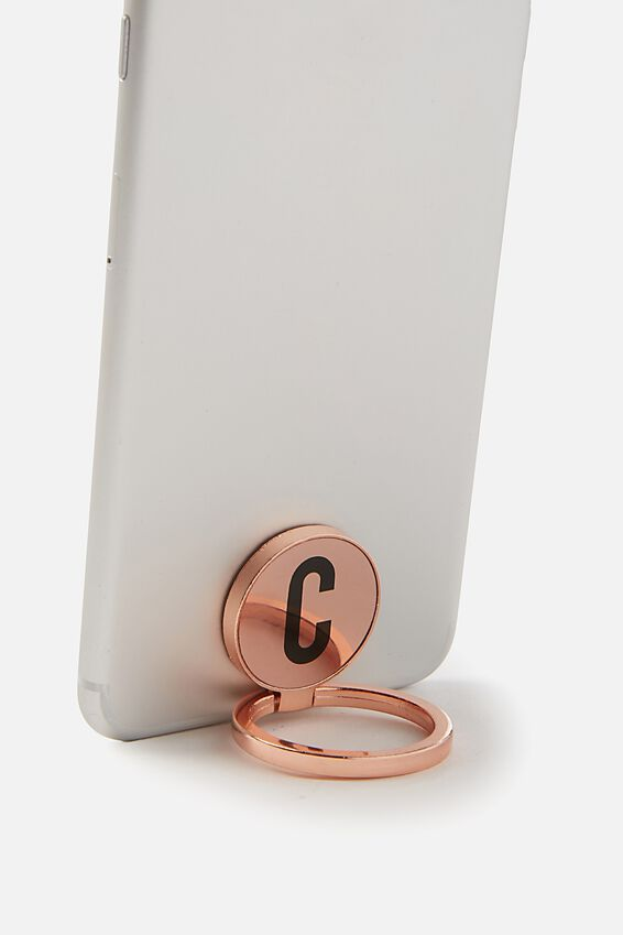 Metal Alpha Phone Ring, ROSE GOLD C