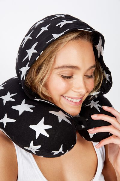 Travel Neck Pillow with Hood, STAR PRINT