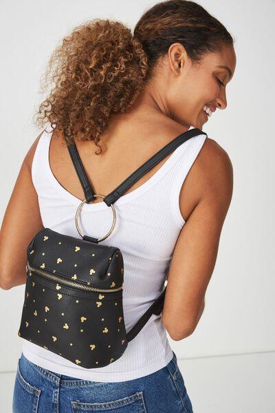 Micro Backpack, LCN MICKEY BLACK DITSY PRINT