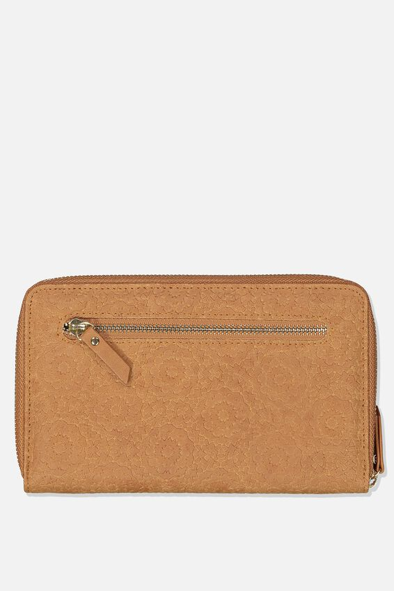 Rfid Odyssey Travel Compendium Wallet, TILE TOOLED MID TAN
