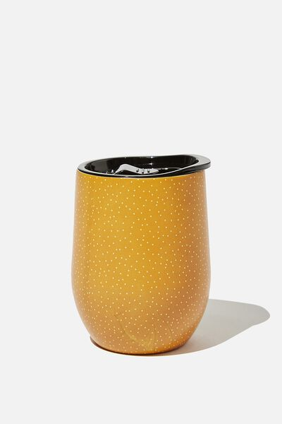Metal Travel Tumbler, MUSTARD POLKA DOT