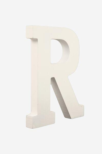 Letterpress Wooden Letter, WHITE R