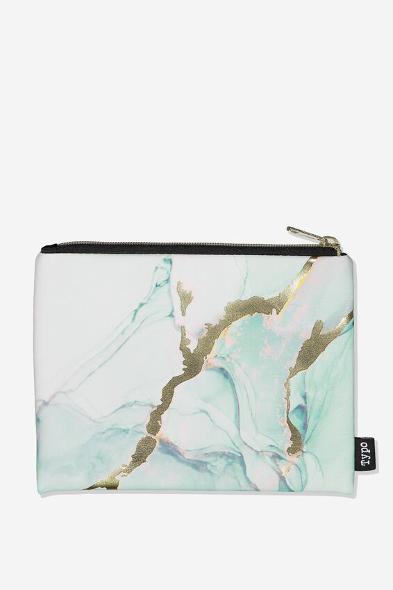 Pu Campus Pencil Case, GREEN MARBLE
