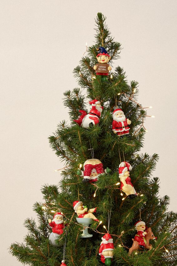 Resin Christmas Ornament, MRS CLAUS ON CANDY CANE!
