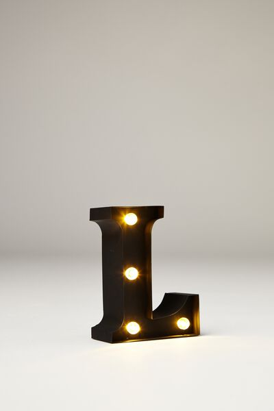 Mini Marquee Letter Lights 10cm, BLACK RUBBER L