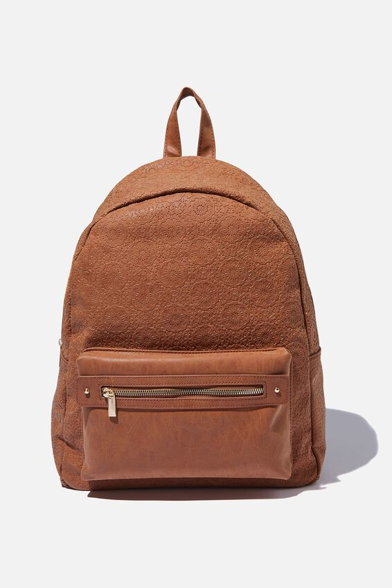 Commuter Backpack, TILE TOOLED MID TAN