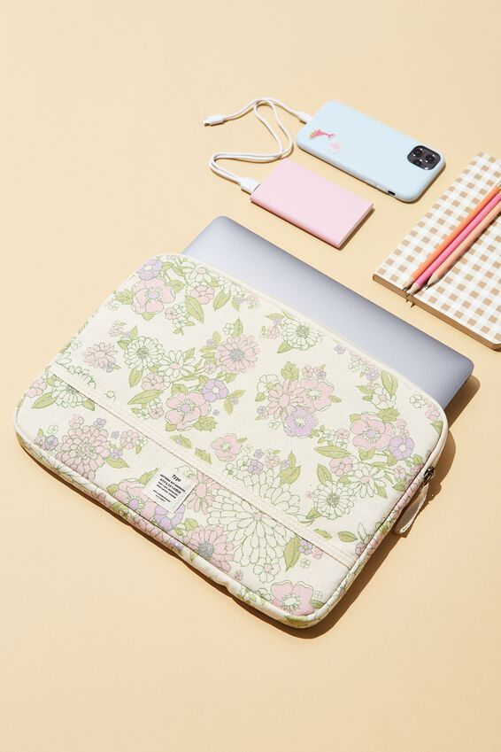 Canvas 13 Inch Laptop Case, MINT PINK MOLLY FLORAL