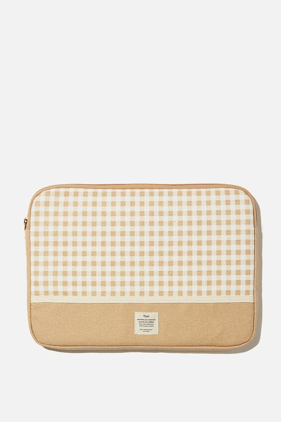 Canvas 13 Inch Laptop Case, GINGHAM DRIFTWOOD WITH DRIFTWOOD SPLICE