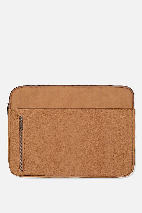 Take Charge 15 Inch Laptop Cover, MID TAN TOOLED PAISLEY