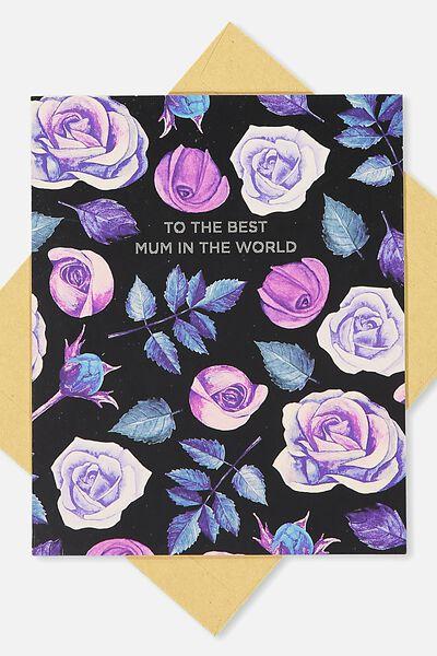 Mum Card, BEST MUM BLACK FLORAL