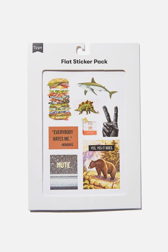 Flat Sticker Pack, BURGER SHARK