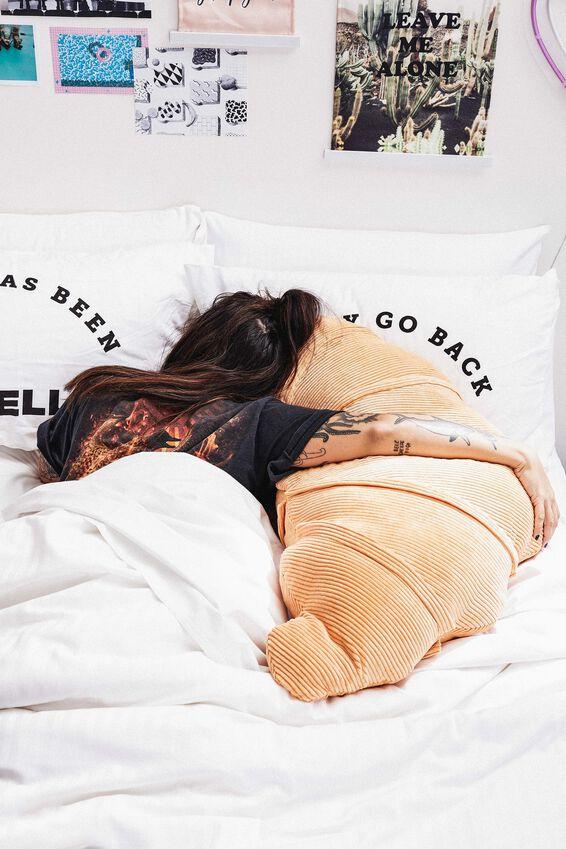 Large Get Cushy Cushion, CORD CROISSANT